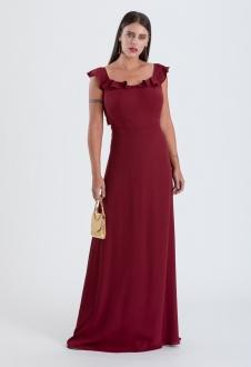 Vestido longo marsala  de crepe com alça de babados - Ref. 2315