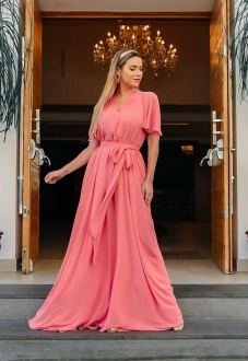 Vestido longo para madrinha Coral ref.2593 tamanho único