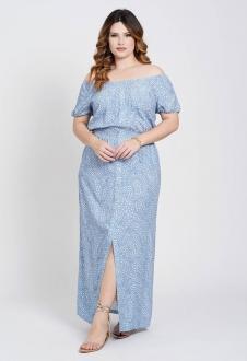 Vestido longo plus size elastex azul Ref. U81821