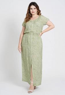 Vestido longo pluys size elastex verde Ref. U81821