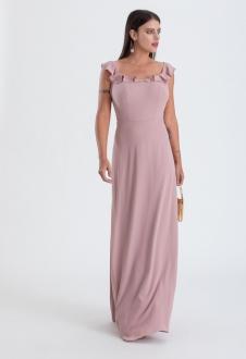 Vestido longo rosê de crepe com alça de babados - Ref. 2315