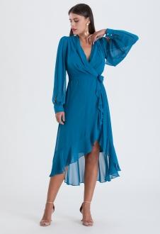 Vestido manga longa mullet azul petróleo ref. 2563