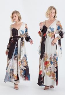 Vestido de festa estampado manga longa ref. 2581