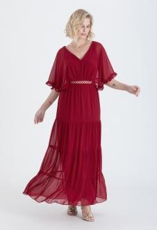 Vestido maxi marsala com detalhe guippir Ref. 2647