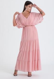Vestido maxi rosê com detalhe guippir Ref. 2647