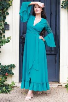 Vestido de festa verde com manga longa ref. 02595
