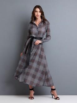 vestido chemise com cinto couro