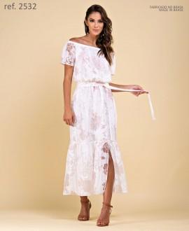 Vestido midi de Voal bordado branco Cigana - Ref. 2532