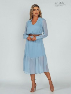 Vestido midi de esta azul serenity com manga longa ref.2582