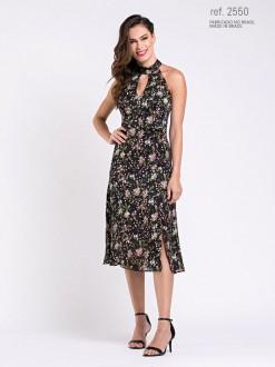 Vestido midi floral ref. 2550 preto