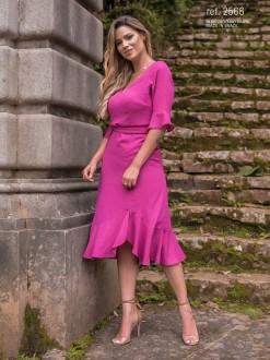 Vestido midi com meia manga ref. 2566 pink