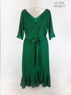 Vestido midi Milano com meia manga ref. 2566 verde