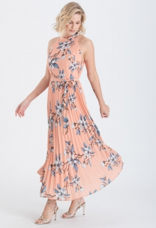 Vestido midi plissado estampado coral ref. 2652