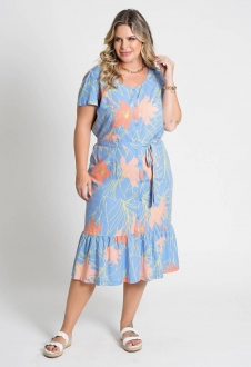 Vestido midi plus size Azul Ref. U79121