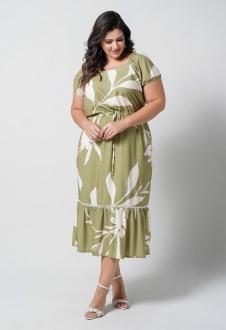 Vestido  midi verde estampado plus size  Ref. U66521