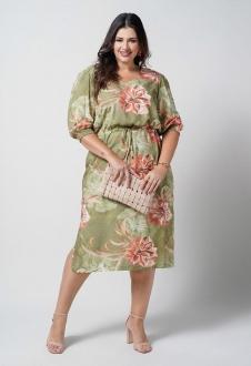 Vestido midi viscose verde plus size   ref. U67221