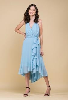 Vestido mullet babados azul serenity ref. 2480