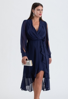 Vestido mullet manga longa azul marinho ref. 2563