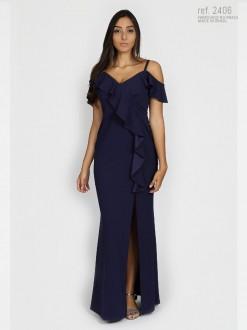 Vestido ombro a ombro com alça cor azul marinho - Ref. 2406