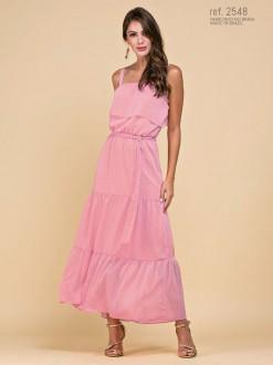 Vestido ombro a ombro com saia midi rosa ref.2548