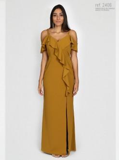 Vestido ombro a ombro festa mostarda - Ref. 2406