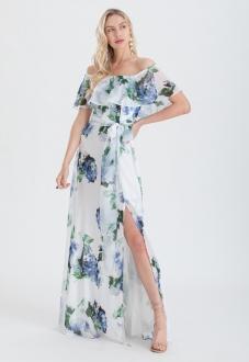 Vestido ombro a ombro floral longo Azul Ref. 2464
