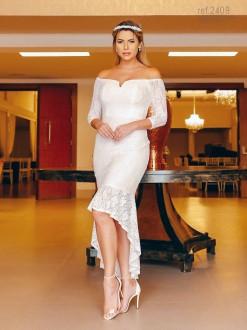 Vestido para casamento civil, vestido branco mullet - Ref. 2409