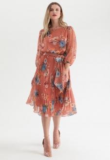 Vestido plissado midi floral Coral Terracota Ref. 2583