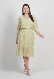 Vestido  plus size verde com manga 3/4  Ref. U642620