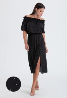 Vestido preto ciganinha com manga - Ref. 2587