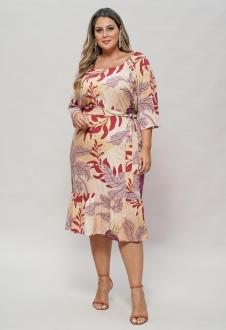 Vestido rosê estampado  plus size com manga  Ref. U63121