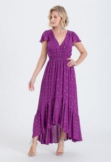 Vestido roxo maxi com manguinha ref. 2679