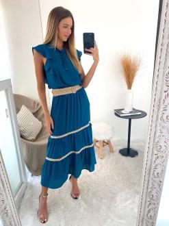 Vestido saia três Maria azul ref. F11983