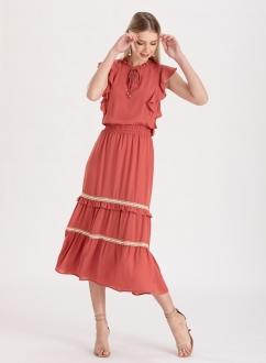 Vestido saia três Maria terracota ref. F11983