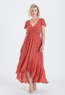 Vestido terracota maxi com manguinha ref. 2679