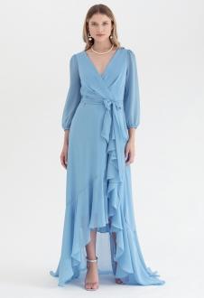 Vestido transpassado mullet Azul Serenity - Ref. 2543
