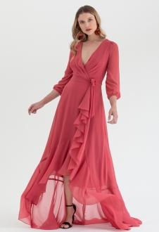 Vestido transpassado mullet Coral - Ref. 2543L