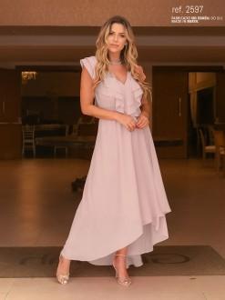 Vestido de festa rosê  mullet  ref. 2597