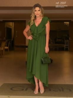 Vestido de festa verde oliva mullet  ref. 2597