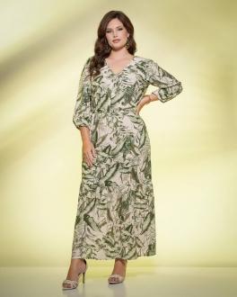 Vestido  verde estampado plus size com manga 3/4  Ref. U61621