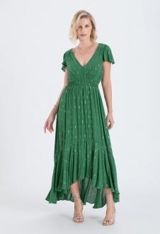 Vestido verde maxi com manguinha ref. 2679