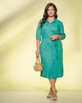 Vestido verde  plus size com manga  Ref. U61221