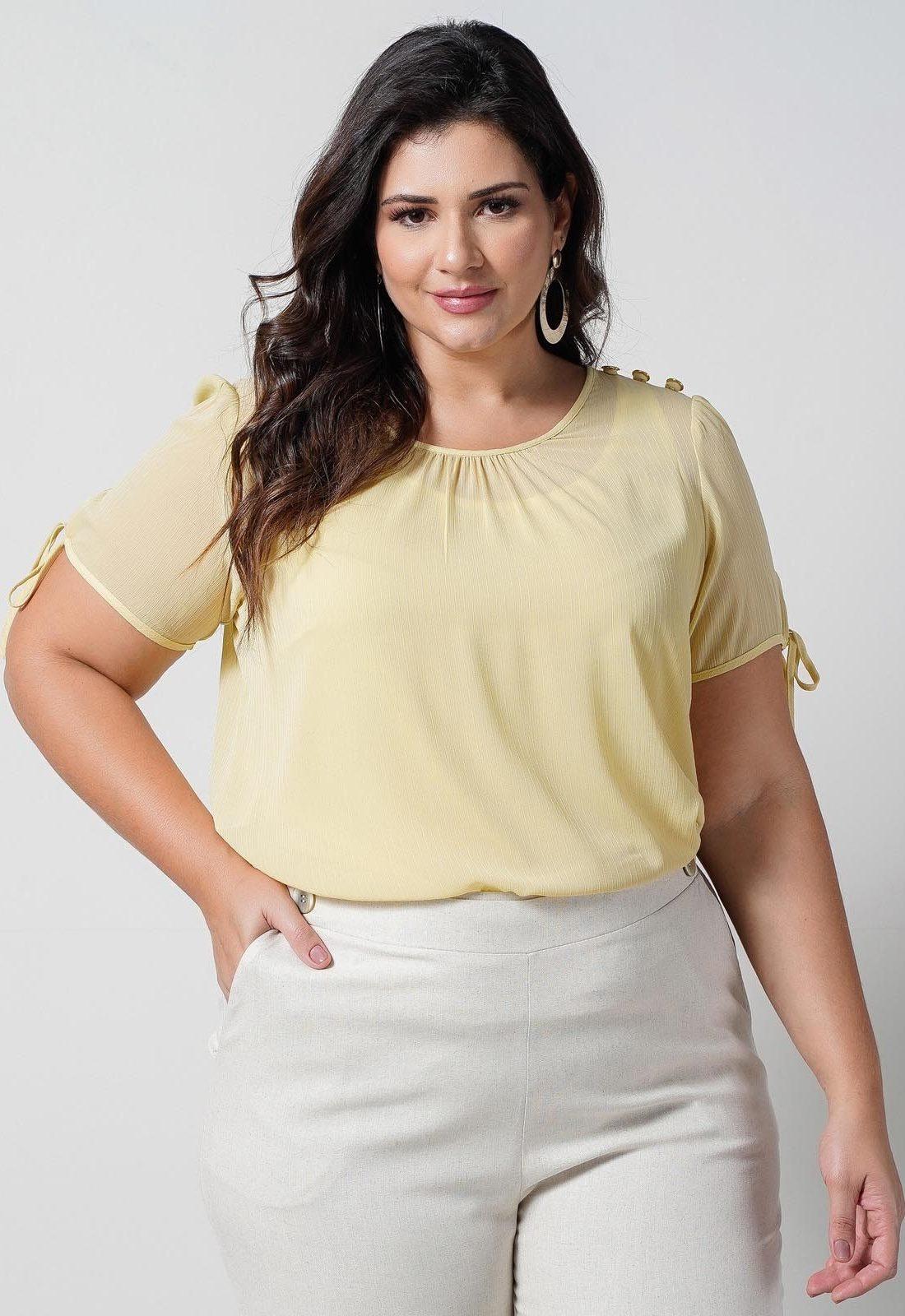 Blusa amarela com regata malha  plus size  Ref. U66421