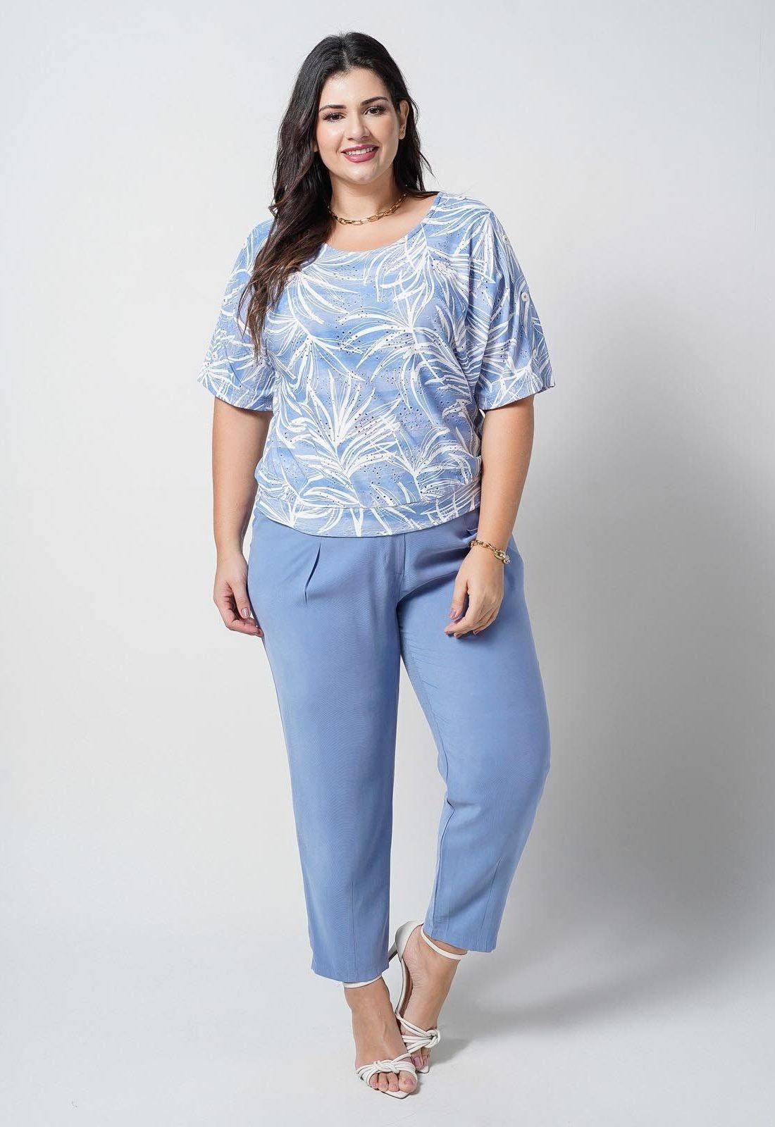 Blusa azul laise de malha  plus size  Ref. U66321