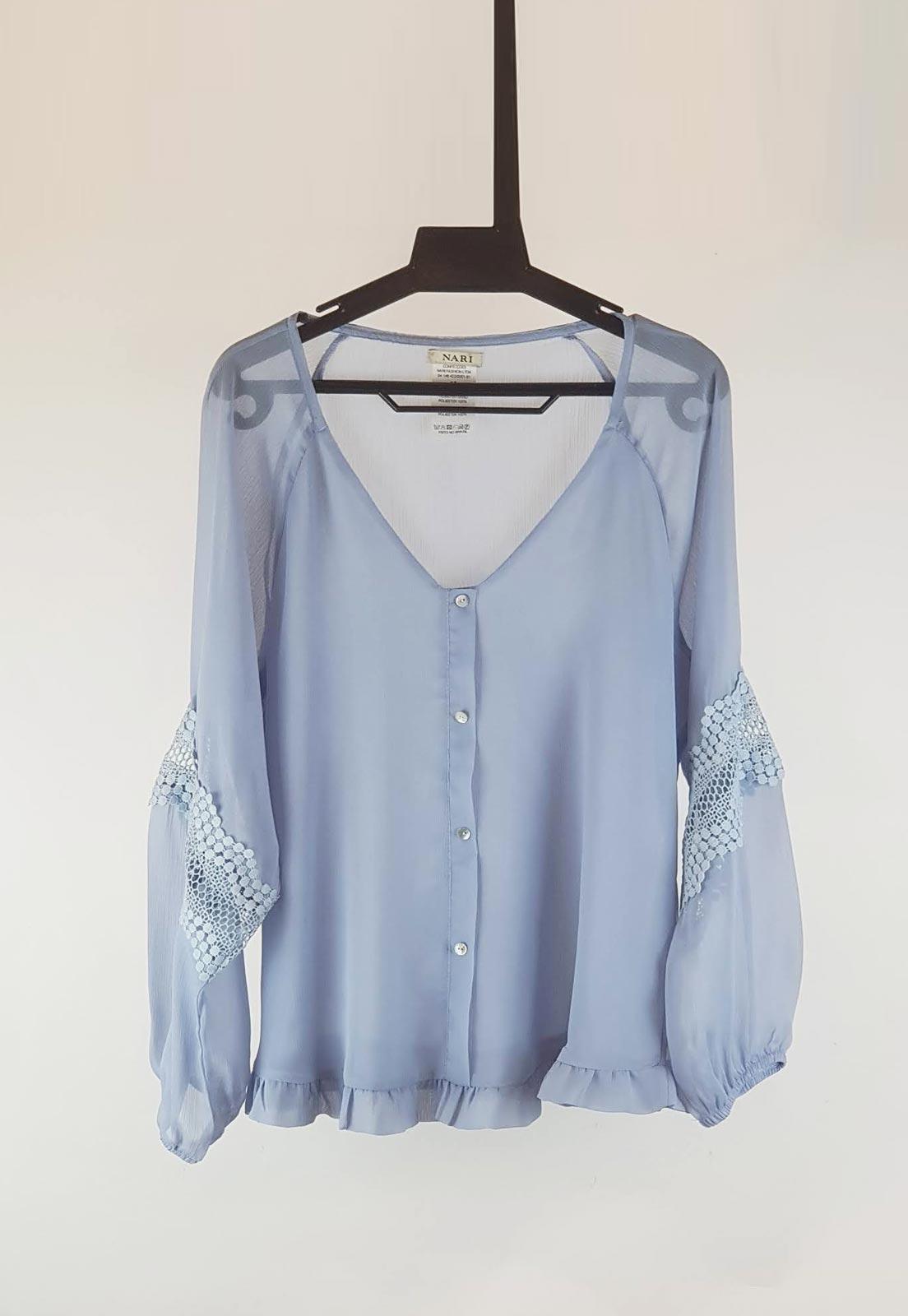 Blusa azul serenity de manga longa  Ref. 2612