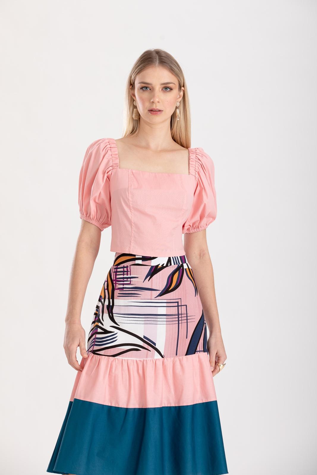 Blusa com manga  rosa ref. F12310