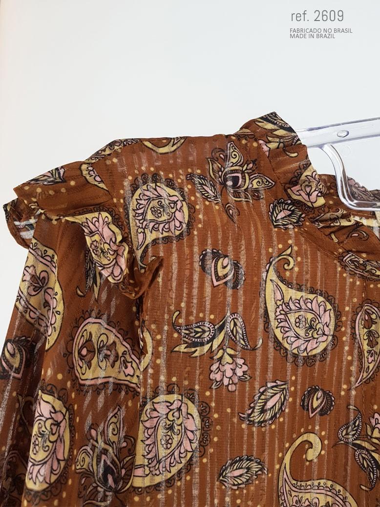 blusa estampada marrom