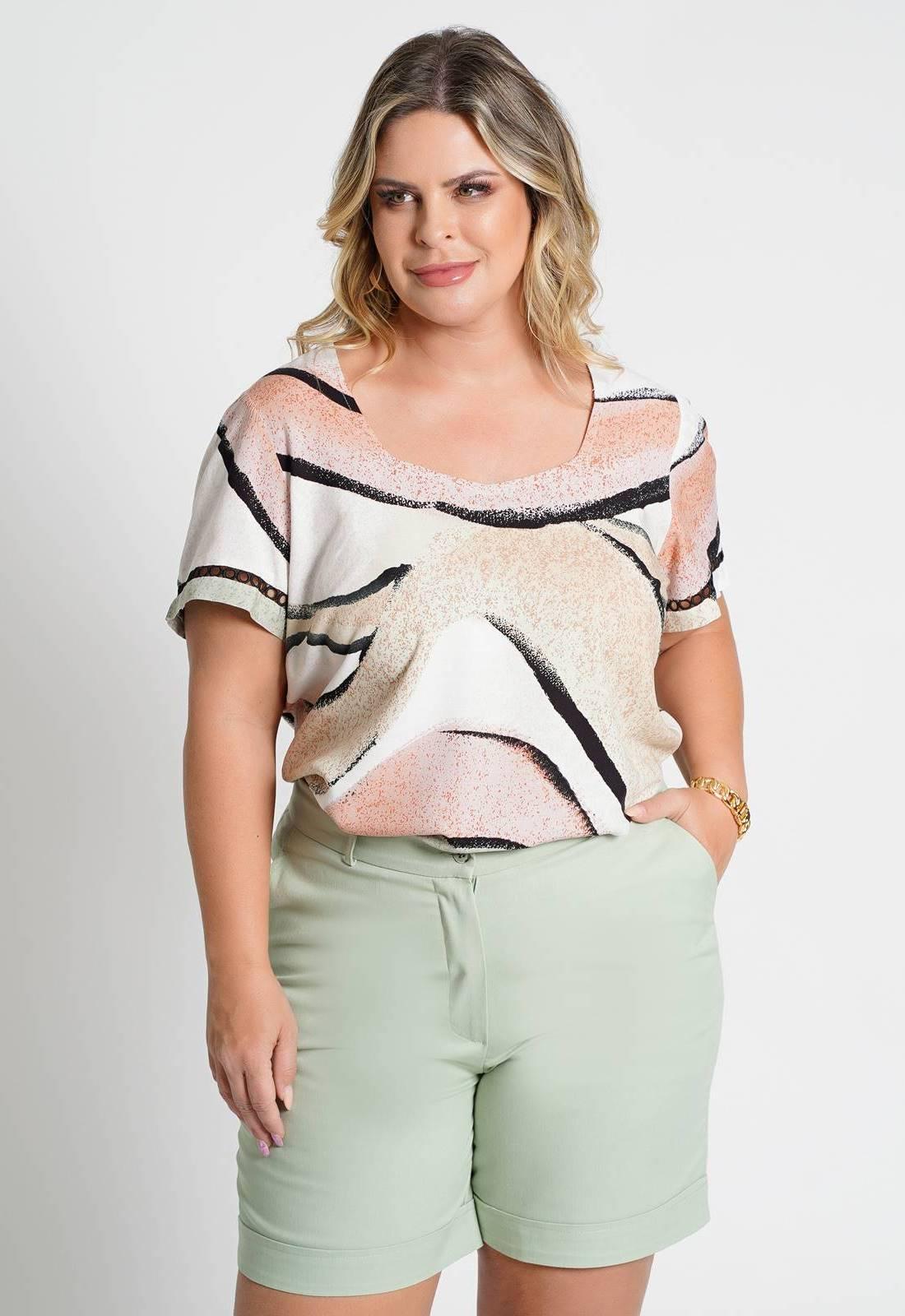Blusa estampada com renda manga Bege Ref. U76021
