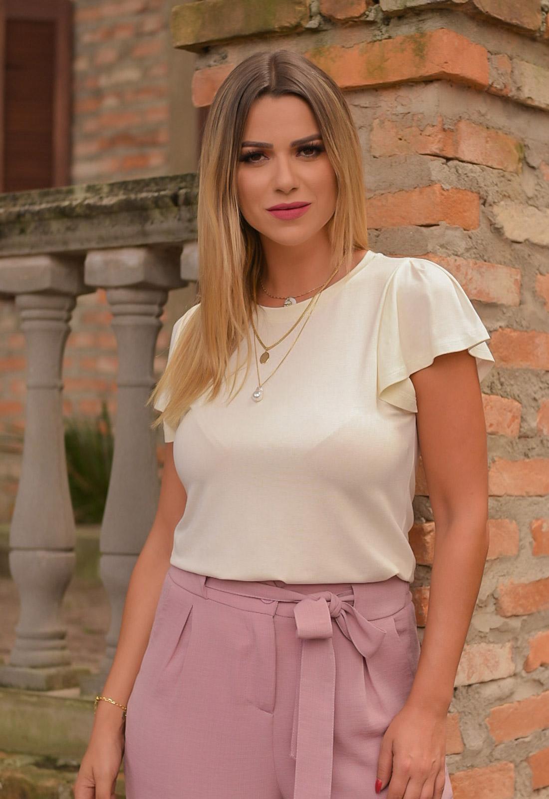 Blusa feminina de malha off-white  ref. 2626