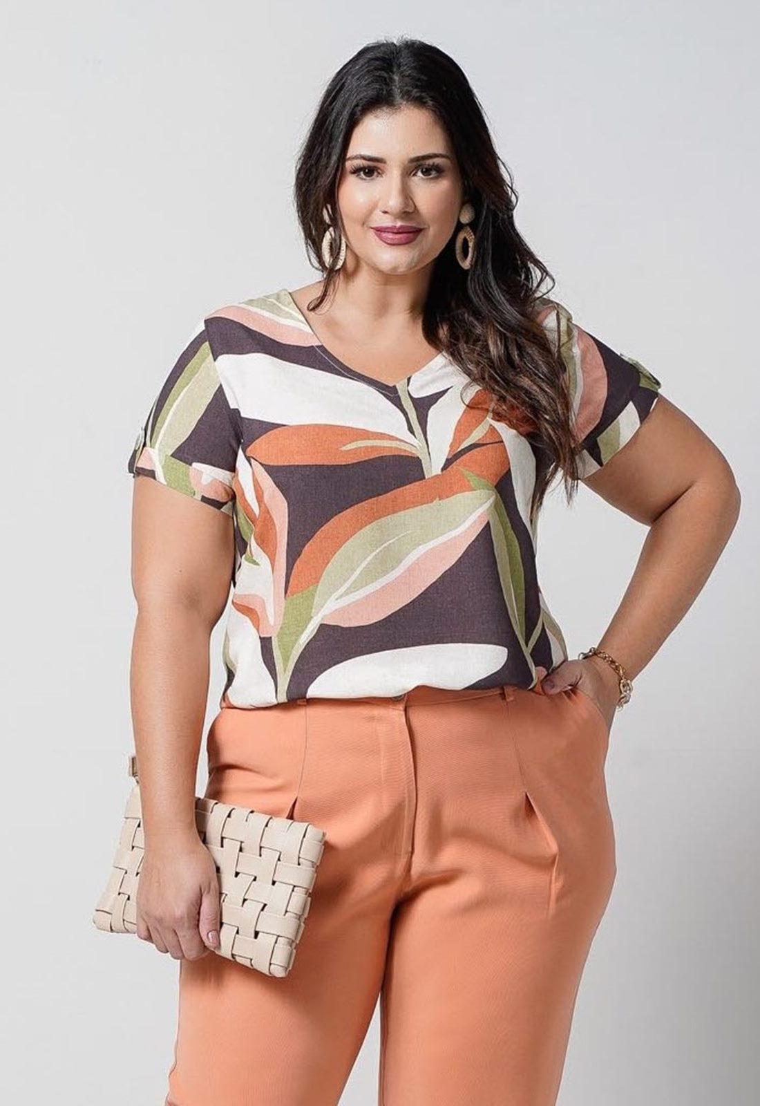 Blusa feminina estampada plus size  Ref. U67321